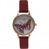 Olivia Burton Watch - Woodland - Butterfly Burgundy & Gold