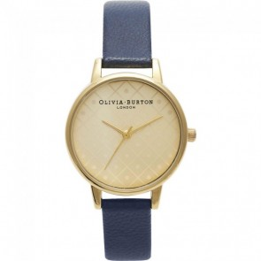 Olivia Burton Watch - Modern Vintage - Navy & Gold Dot Face