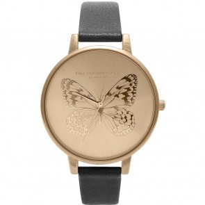 Olivia Burton Watch - Applied Butterfly - Black & Gold