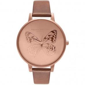 Olivia Burton Watch - Applied Butterfly - Brown & Rose Gold