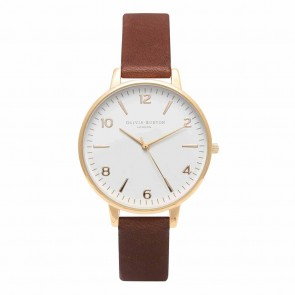 Olivia Burton Watch - White Dial - Midi Brown & Gold