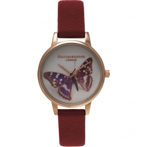 Olivia Burton Watch - Woodland - Butterfly Burgundy & Gold