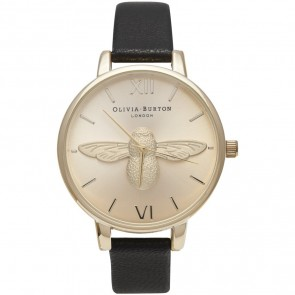 Olivia Burton Watch - Moulded Bee - Black & Gold